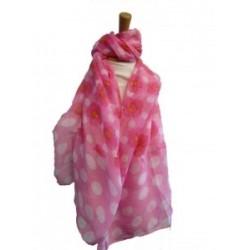 Poppy Polka Print Pink Scarf