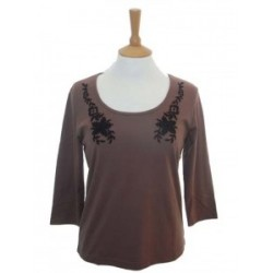 Poppy Embroidered Cognac Top