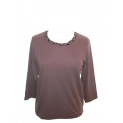 Poppy Plaited Neck Cognac Top