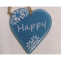 "Handcrafted Glass ""Happy""..."