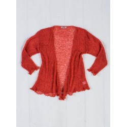 Grino Loose Knit Orange Shrug